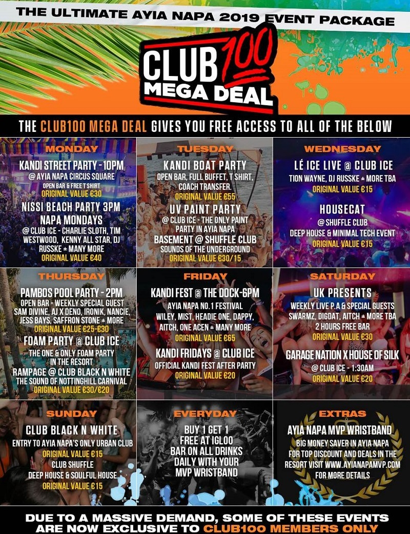 Club 100 Mega Deal Ayia Napa 2019 Events Package